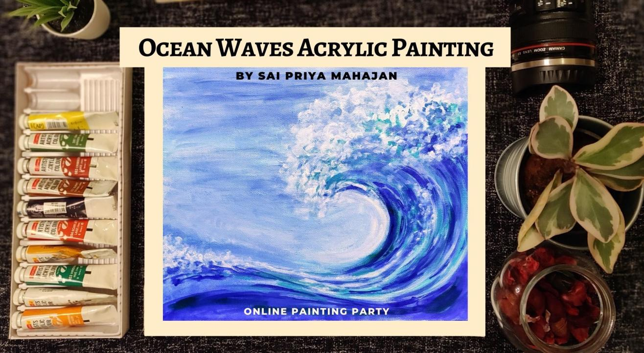 Online Acrylics Painting Party Ocean Waves