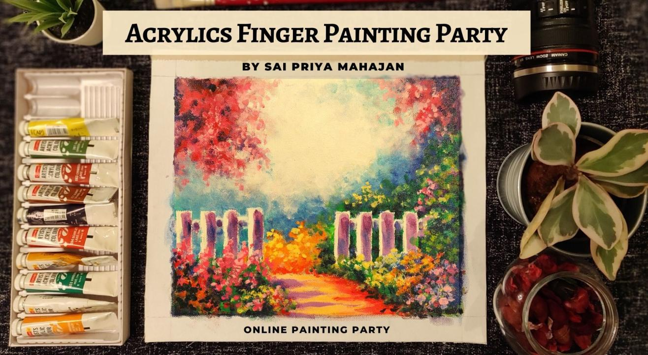 Online Finger Painting Party with Acrylics