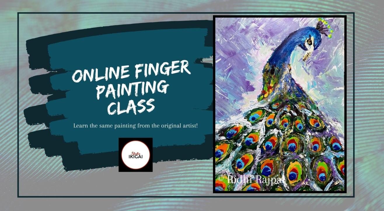 Online Finger Painting Workshop - Abstract Peacock
