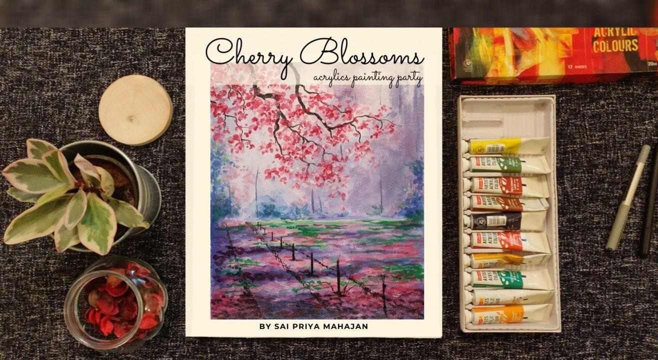 Cherry Blossoms Acrylics Painting Party