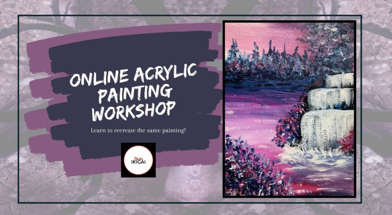 Online Acrylic Painting Workshop - Mystical Waterfall