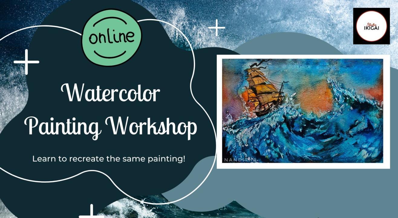 Online Watercolor Painting Workshop - Stormy Sea