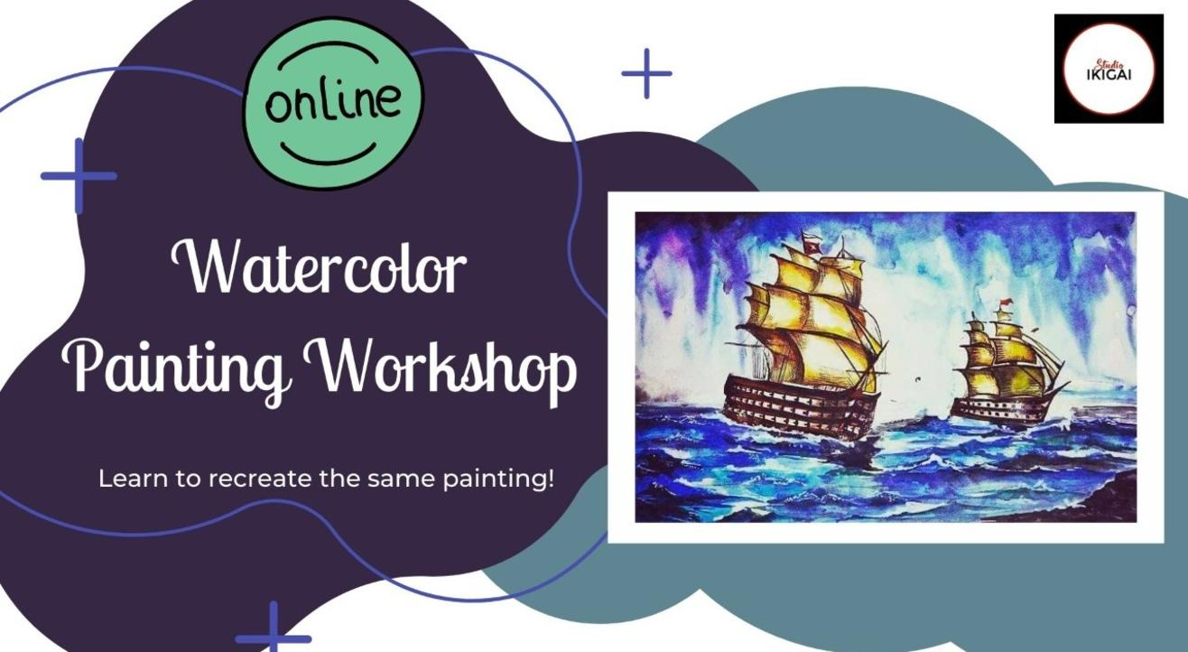 Online Watercolor Painting Workshop - Oceanscape