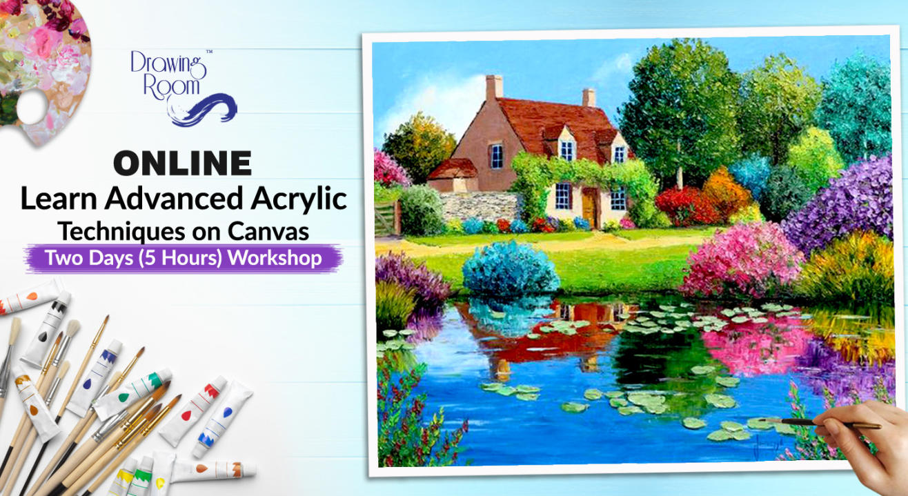 Online Workshop - Learn Advanced Acrylic Techniques on Canvas by Drawing Room