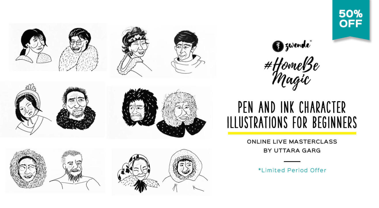PEN AND INK CHARACTER ILLUSTRATIONS ONLINE LIVE MASTERCLASS