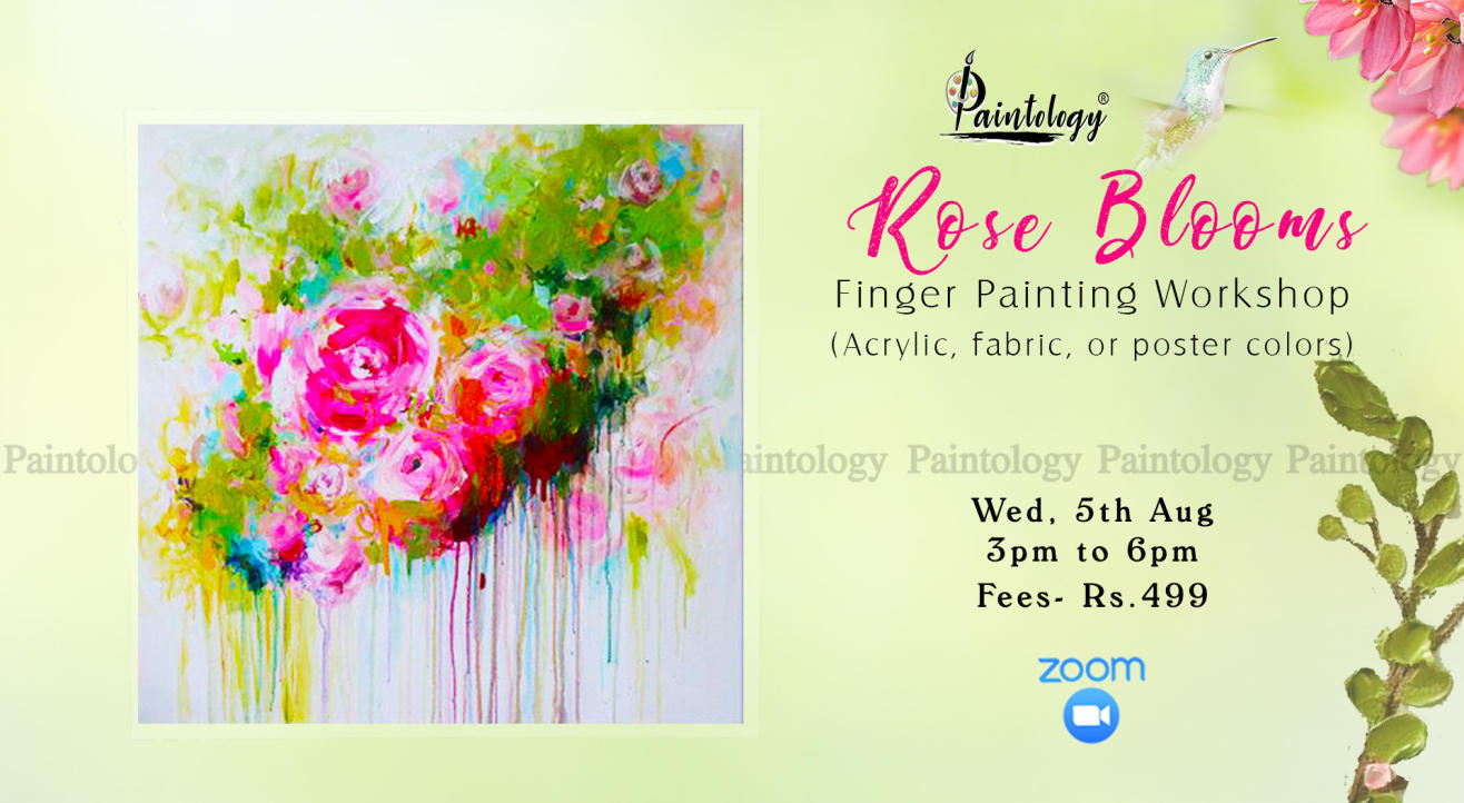 'Rose Blooms' Finger painting workshop by Paintology
