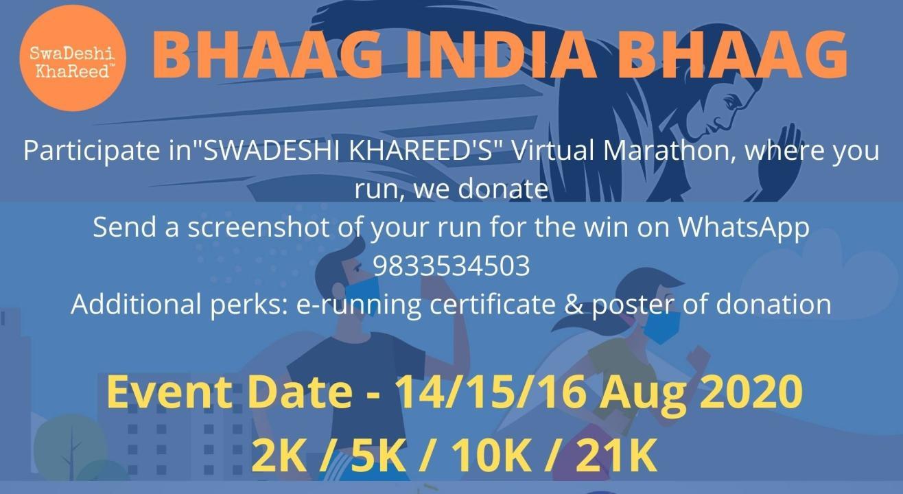 BHAAG INDIA BHAAG - RUN FOR A CAUSE - Virtual Marathon