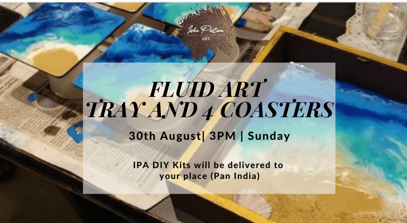 Fluid art on trays and 4 coasters - IPA DIY Kit
