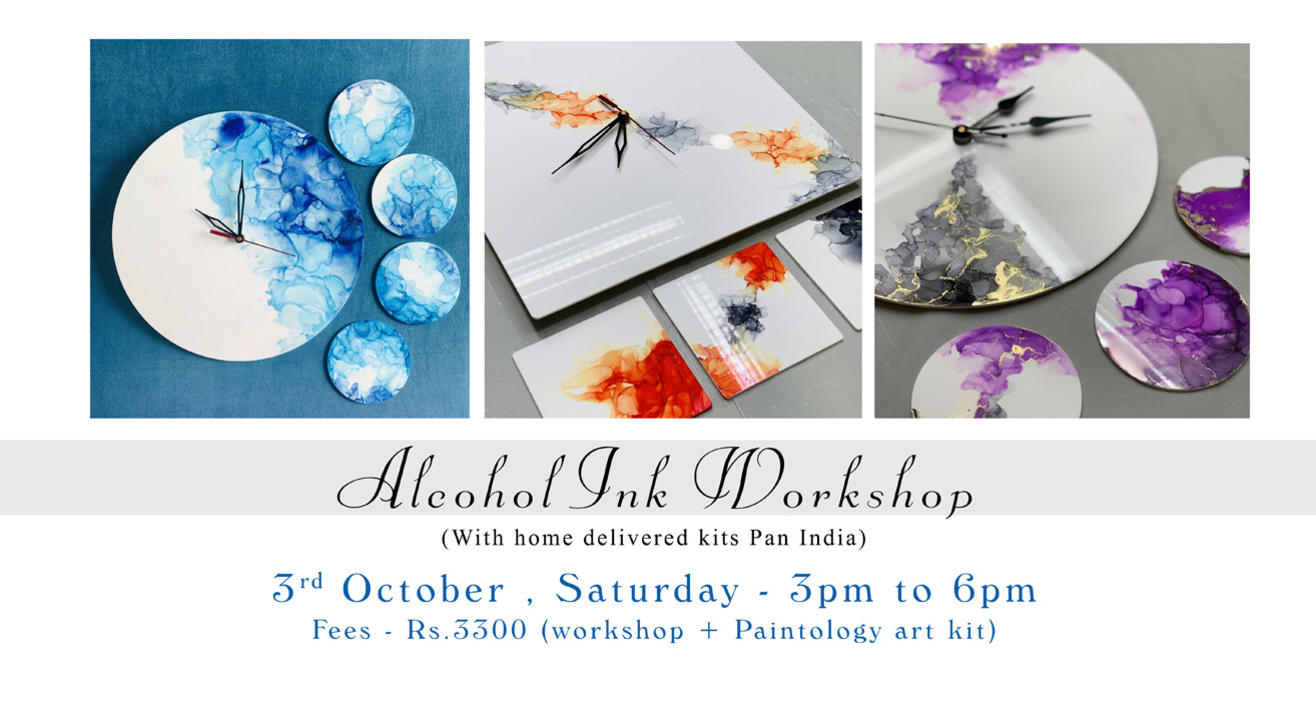 Alcohol Ink workshop with Paintology Kit (One clock + 4 coasters)