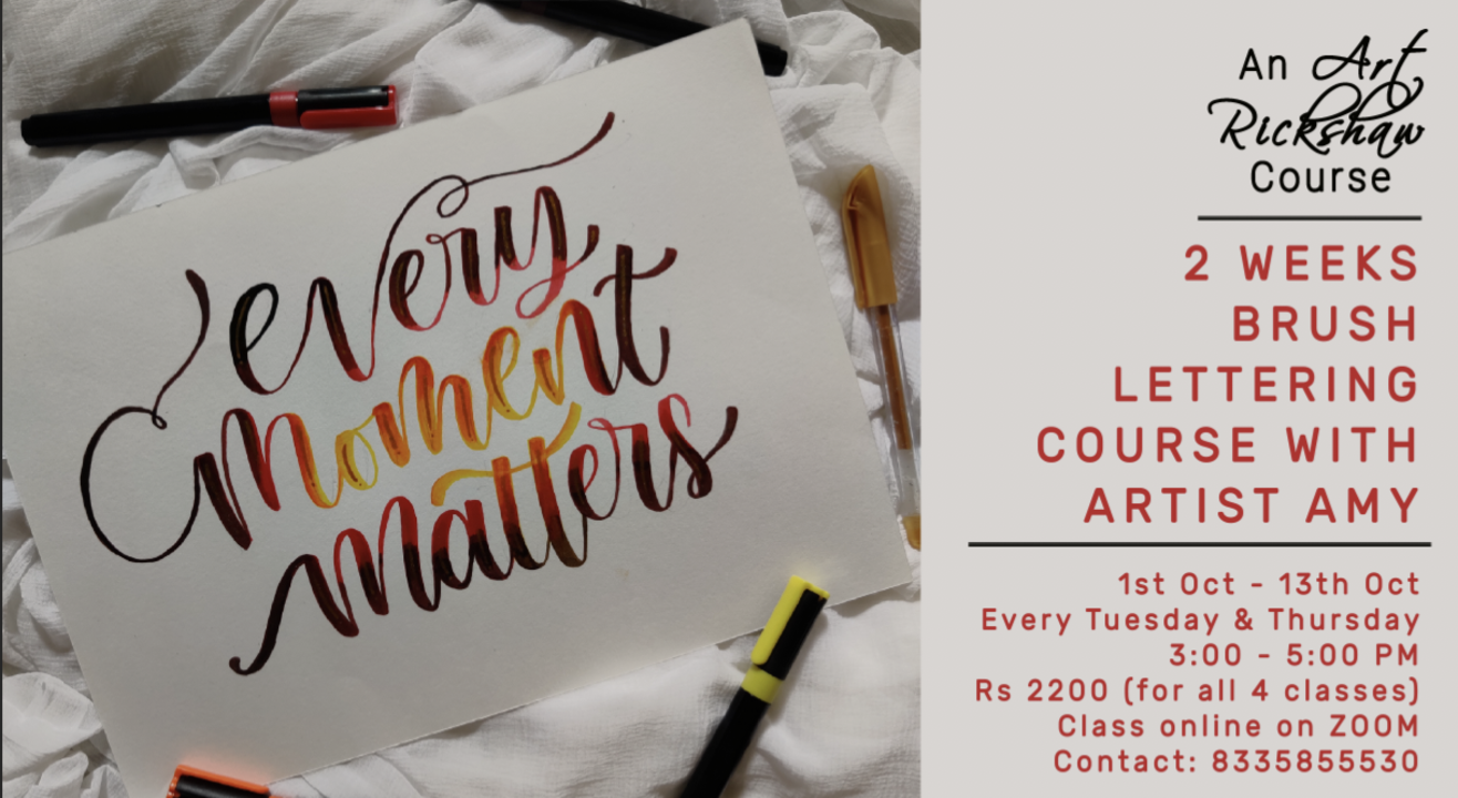 2 weeks Brush Lettering Course with Artist Angelus Amy Mondal