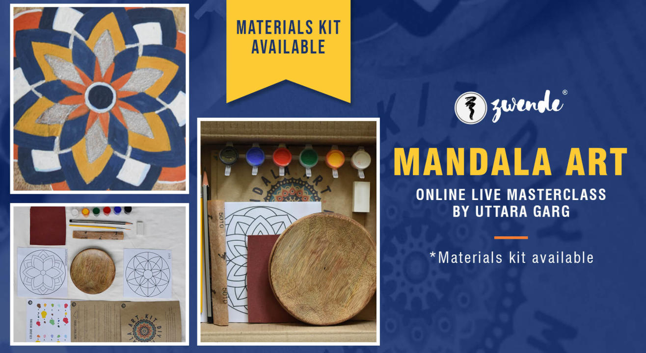 Mandalas on wooden plate (Materials kit Available)