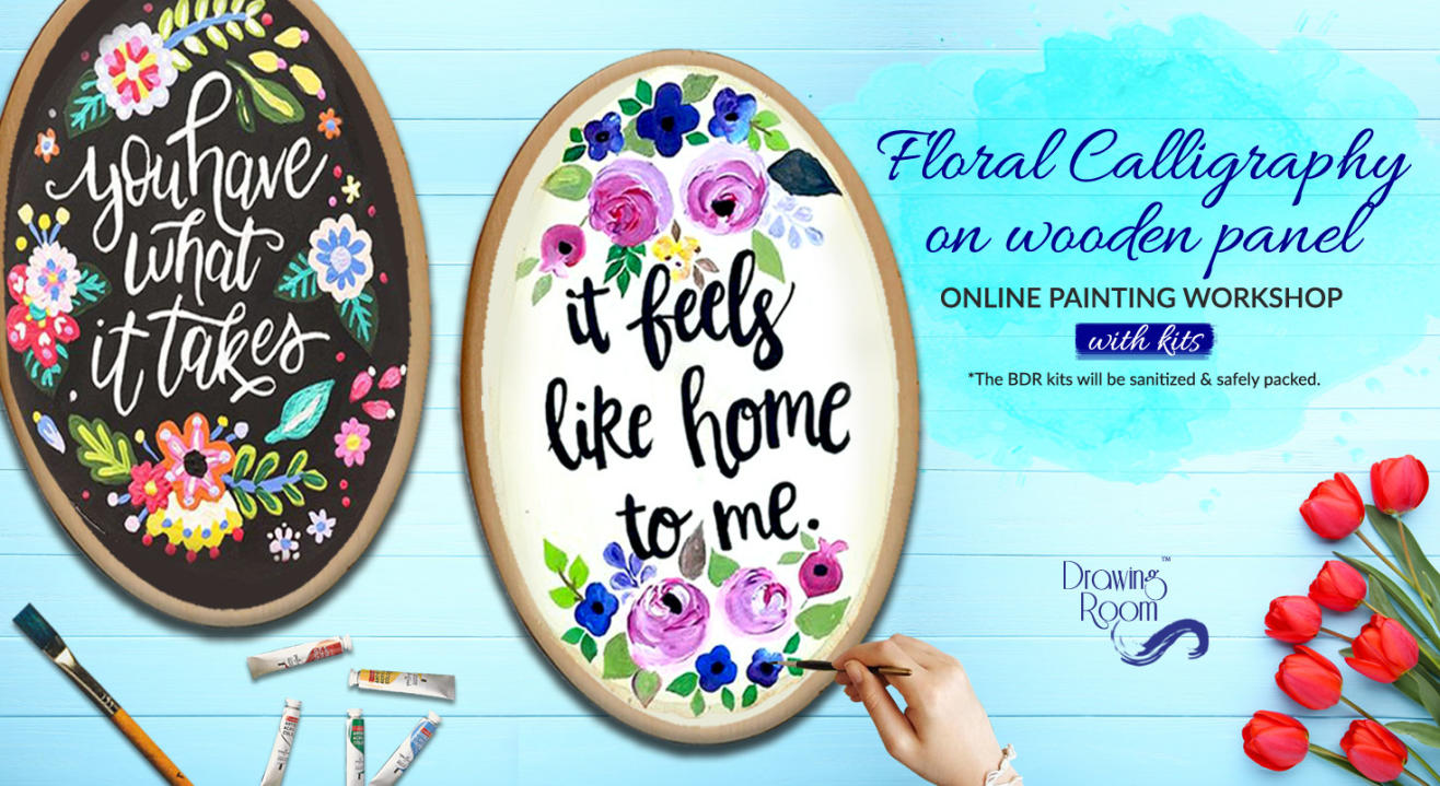 Floral Calligraphy on Wooden Panel with Home Delivered Kits by Drawing Room