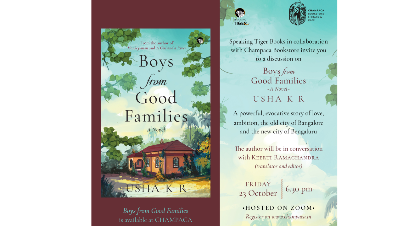 "Champaca Books   ""Boys From Good Families"" author Usha K R in conversation with Keerti Ramachandra"