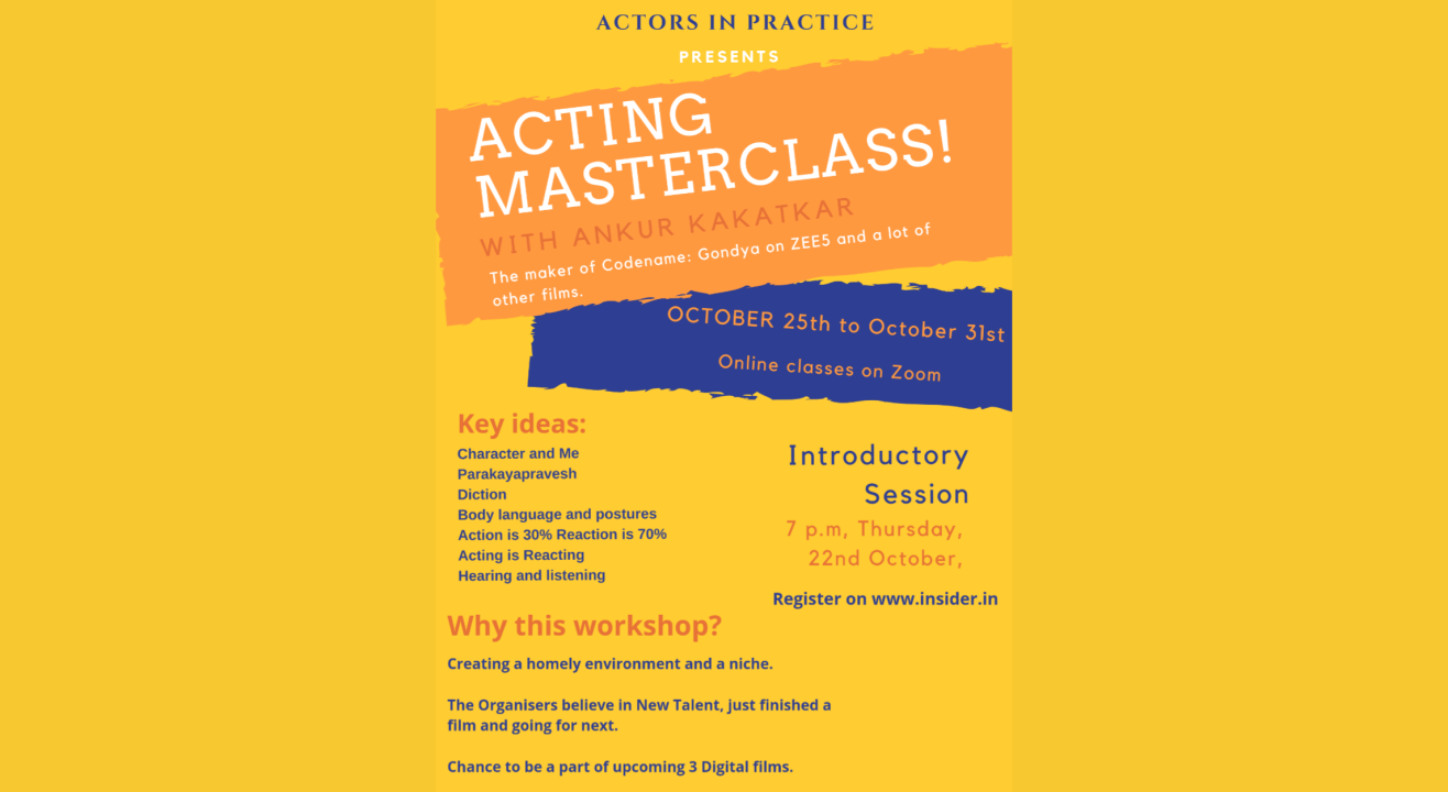 Acting Masterclass with Ankur Kakatkar - Introductory Session