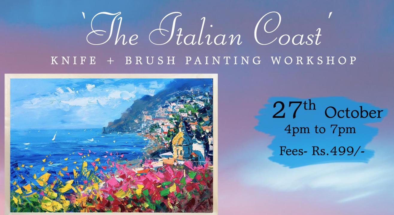 'The Italian Coast' Knife + brush painting workshop by paintology