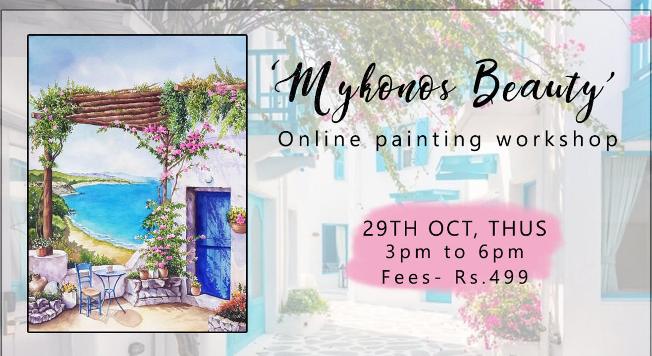 'Mykonos Beauty' Painting workshop by Paintology