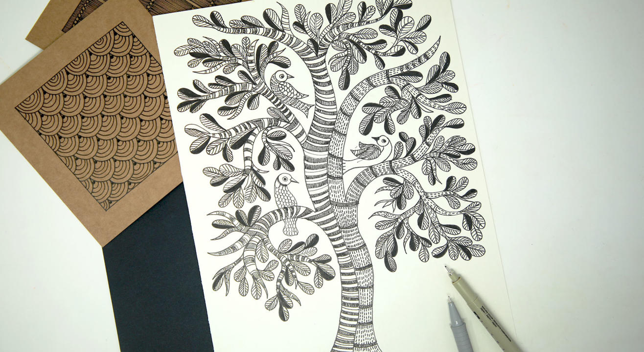Gond Painting Black & White