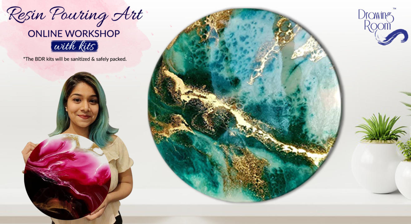 Resin Pouring Art Online Workshop with Home Delivered Kits by Drawing Room