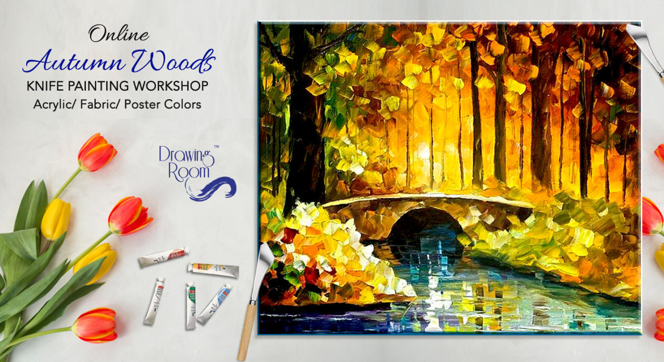 Online Autumn Woods Knife Painting Workshop by Drawing Room