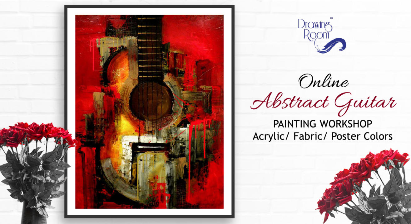 Online Abstract Guitar Painting Workshop by Drawing Room