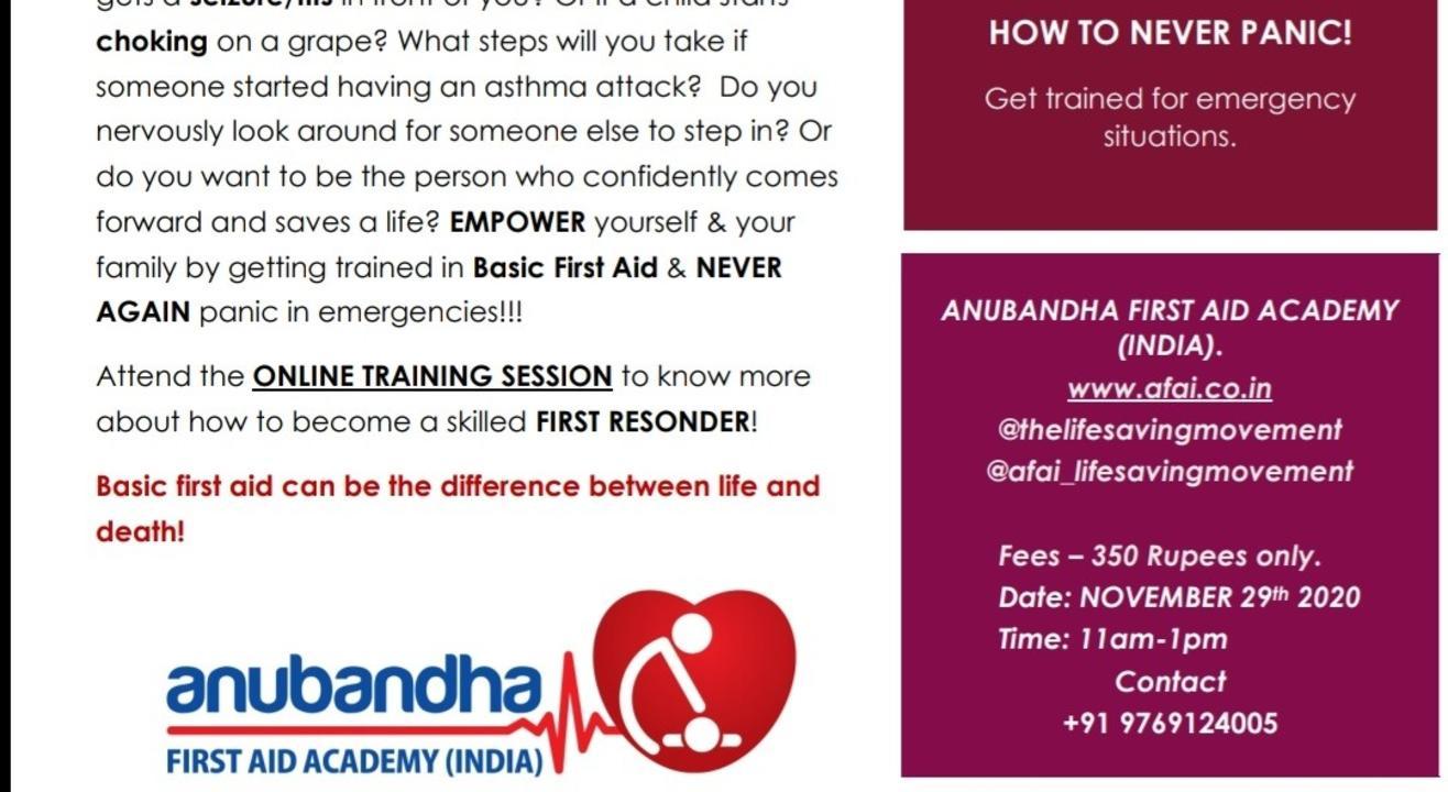 ONLINE BASIC FIRST AID TRAINING PROGRAM -PART I