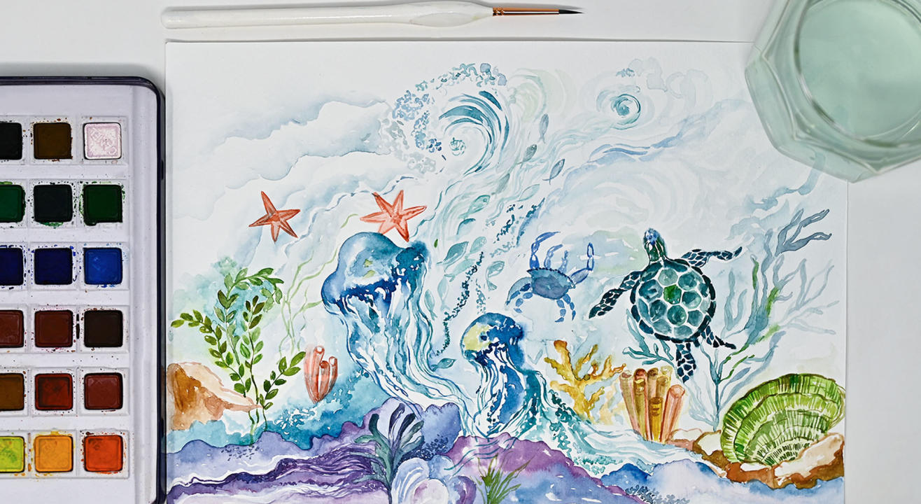 Watercolour Marine Life