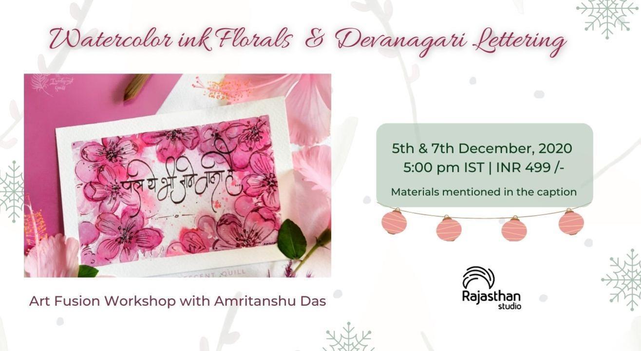 Watercolor Ink Florals & Lettering Workshop by Rajasthan Studio