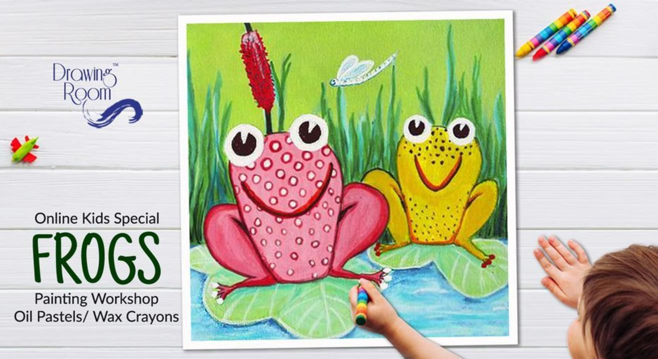 Online Kids Special Frogs Painting Workshop by Drawing Room