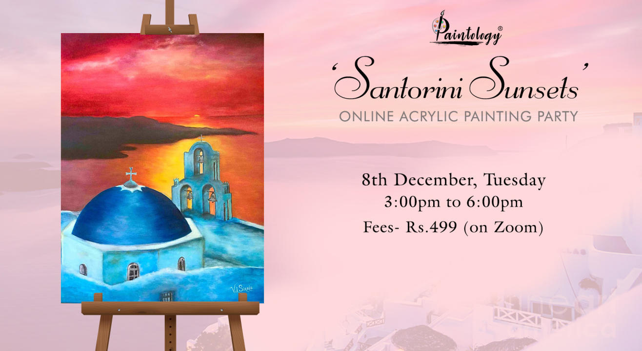 'Santorini Sunsets ' Painting Party by Paintology