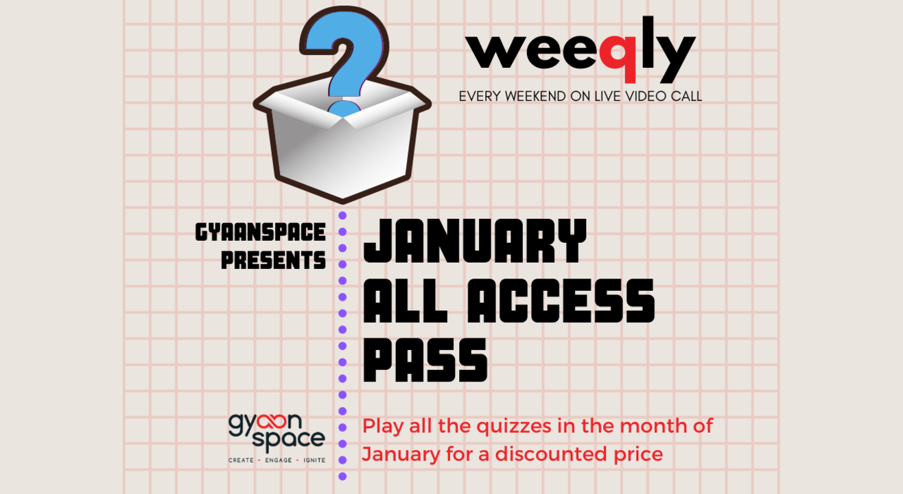 Gyaanspace quizzes January All Access pass (play all our quizzes at a discounted rate)