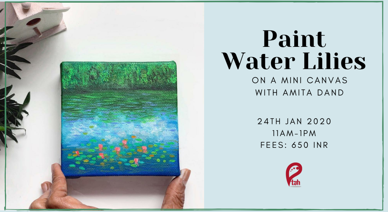 Water Lilies Painting on Mini Canvas