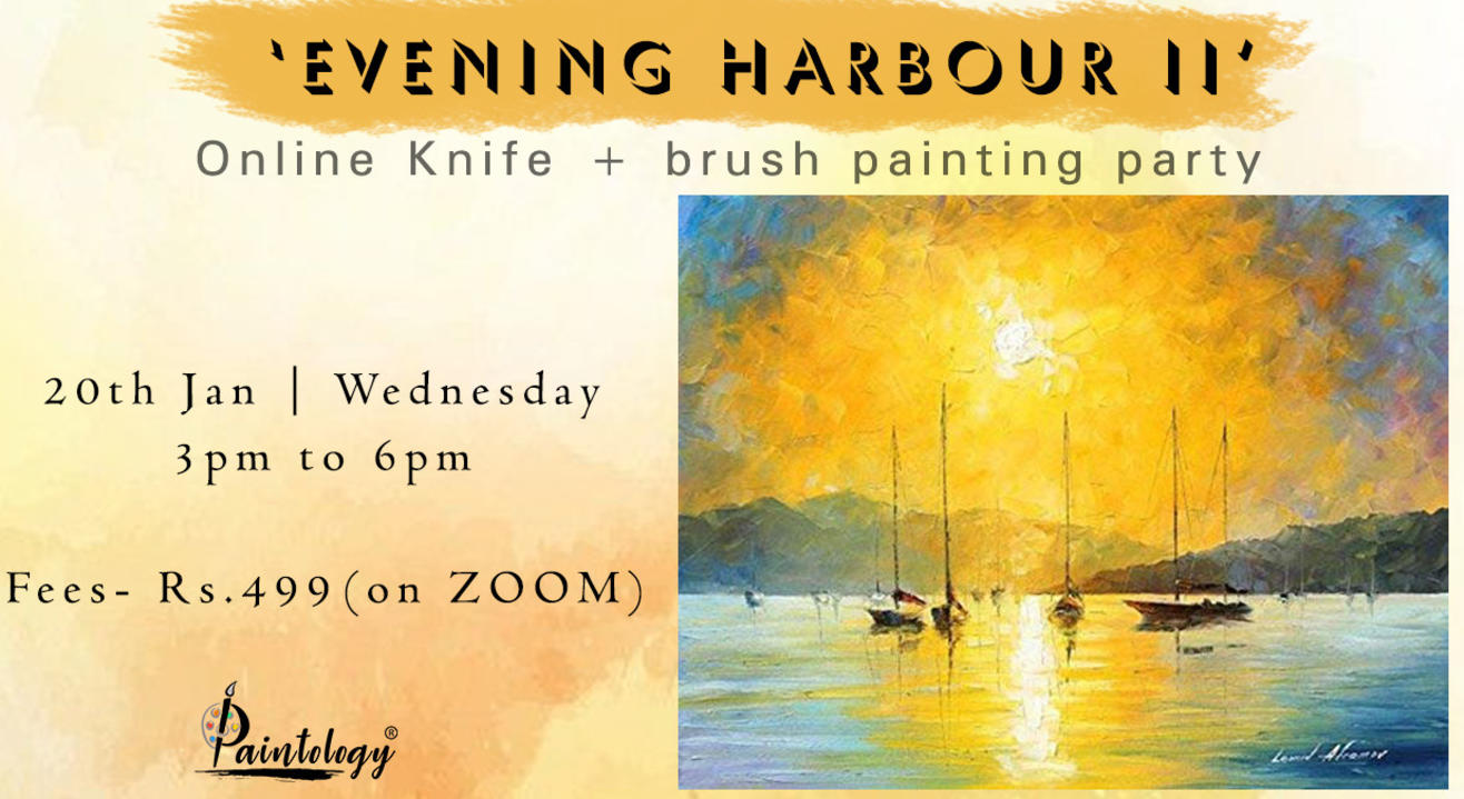 'Evening harbour -2' Knife + Brush painting party