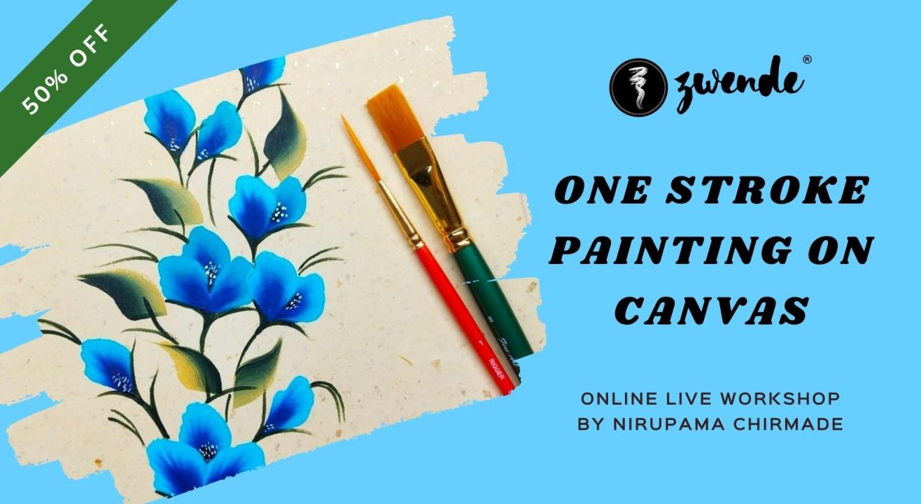 One Stroke Painting on Canvas [Online Live Workshop]