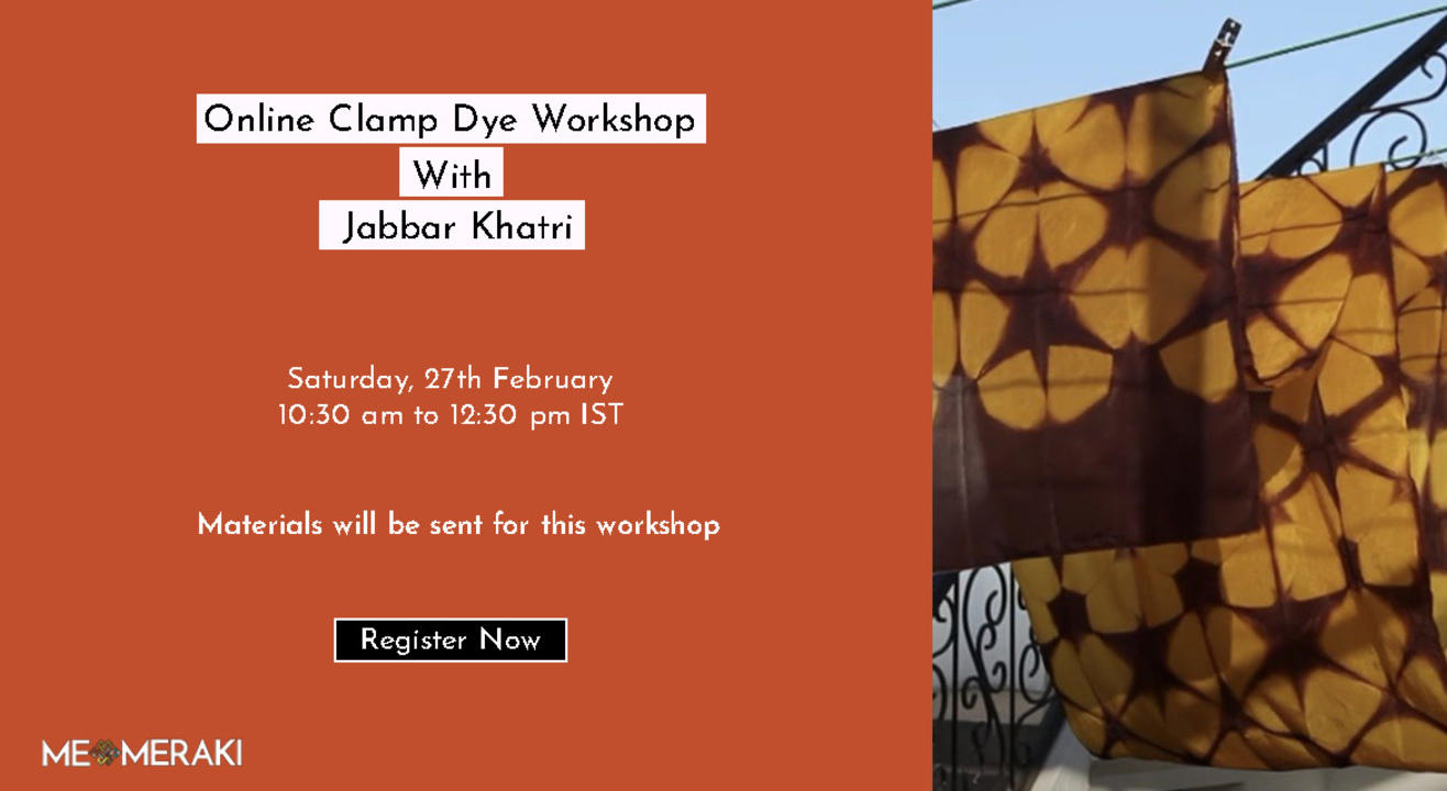 ONLINE CLAMP DYEING WORKSHOP WITH JABBAR KHATRI( WITH MATERIALS)