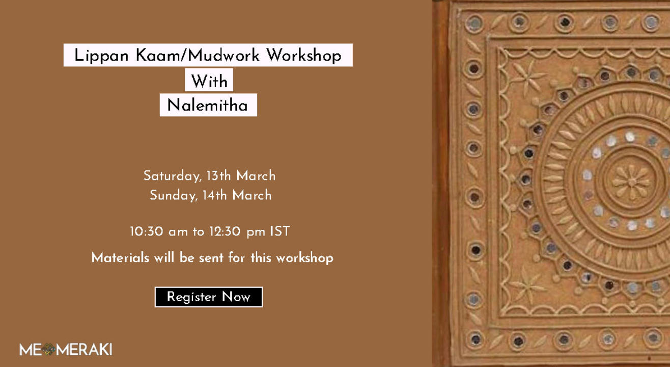 ONLINE LIPPAN KAAM/ MUDWORK WITH NALEMITHA( WITH MATERIALS AND SUITABLE FOR US TIMEZONE TOO)