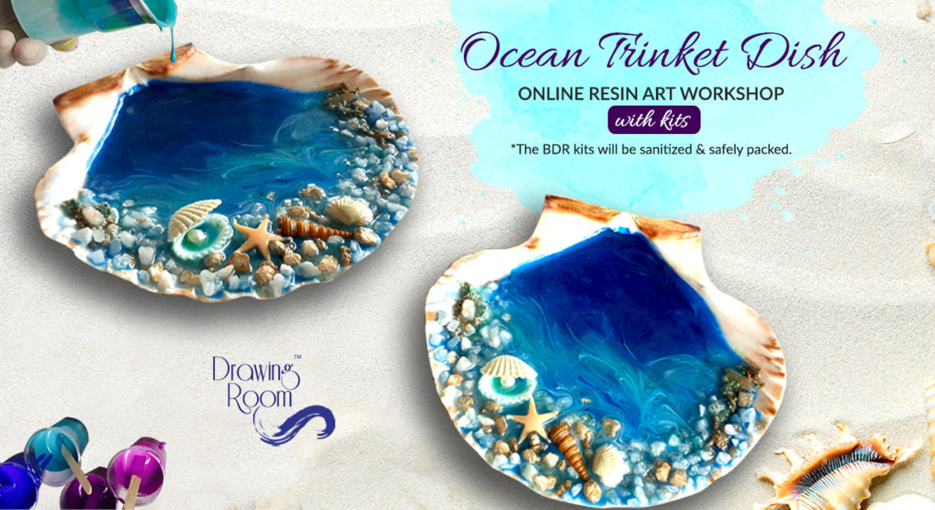 Ocean Trinket Dish Online Resin Art Workshop with Home Delivered Kits by Drawing Room