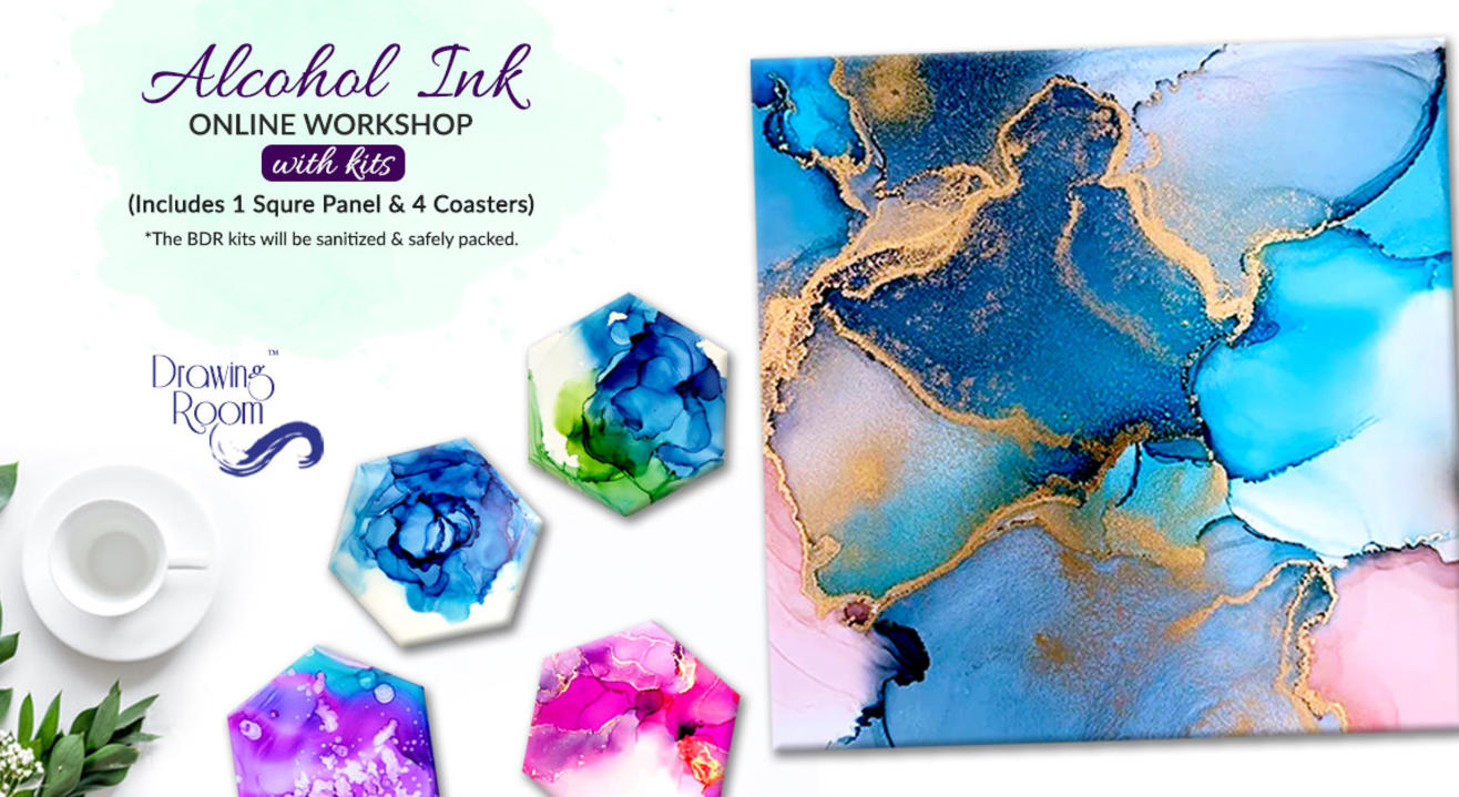Alcohol Ink Online Workshop with Home Delivered Kits by Drawing Room