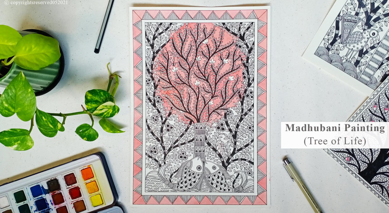 Madhubani Painting (Tree Of Life)