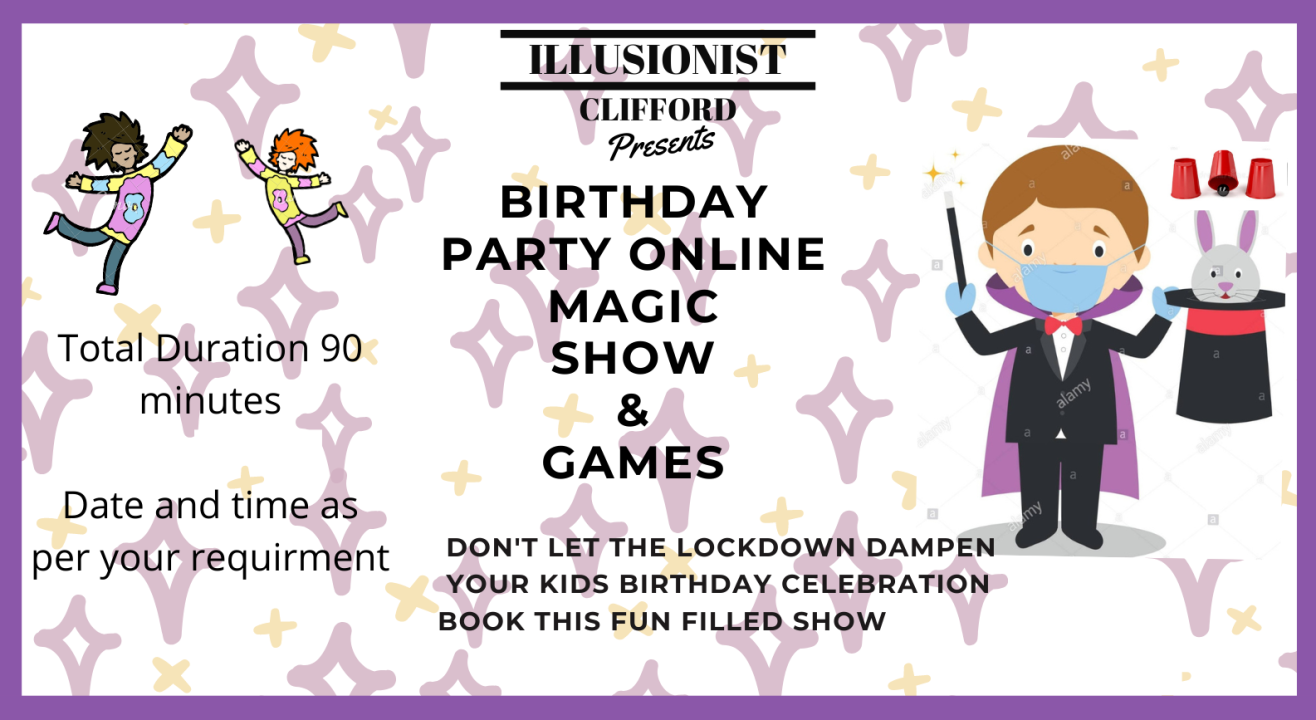 Online  Birthday Show for Kids- Illusionist Clifford