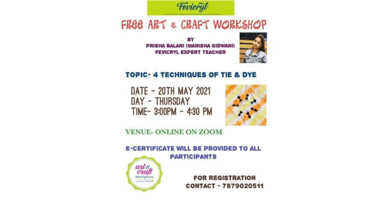 Free Fevicryl Workshop on 4 Techniques of Tie and Dye