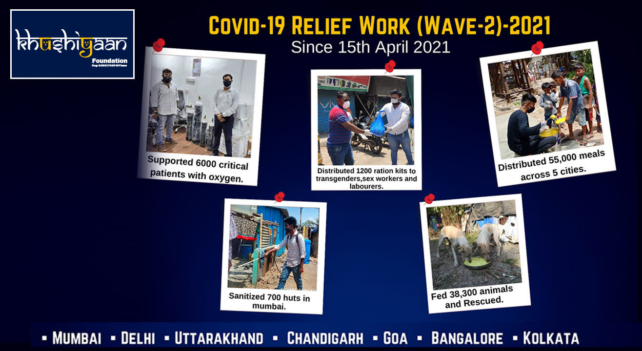 Oxygen, Ration, Feeding Stray Animals, Basic Sanitization Covid Relief | Khushiyaan Foundation