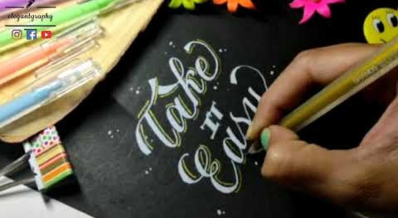 Calligraphy with normal pen or pencil 💝