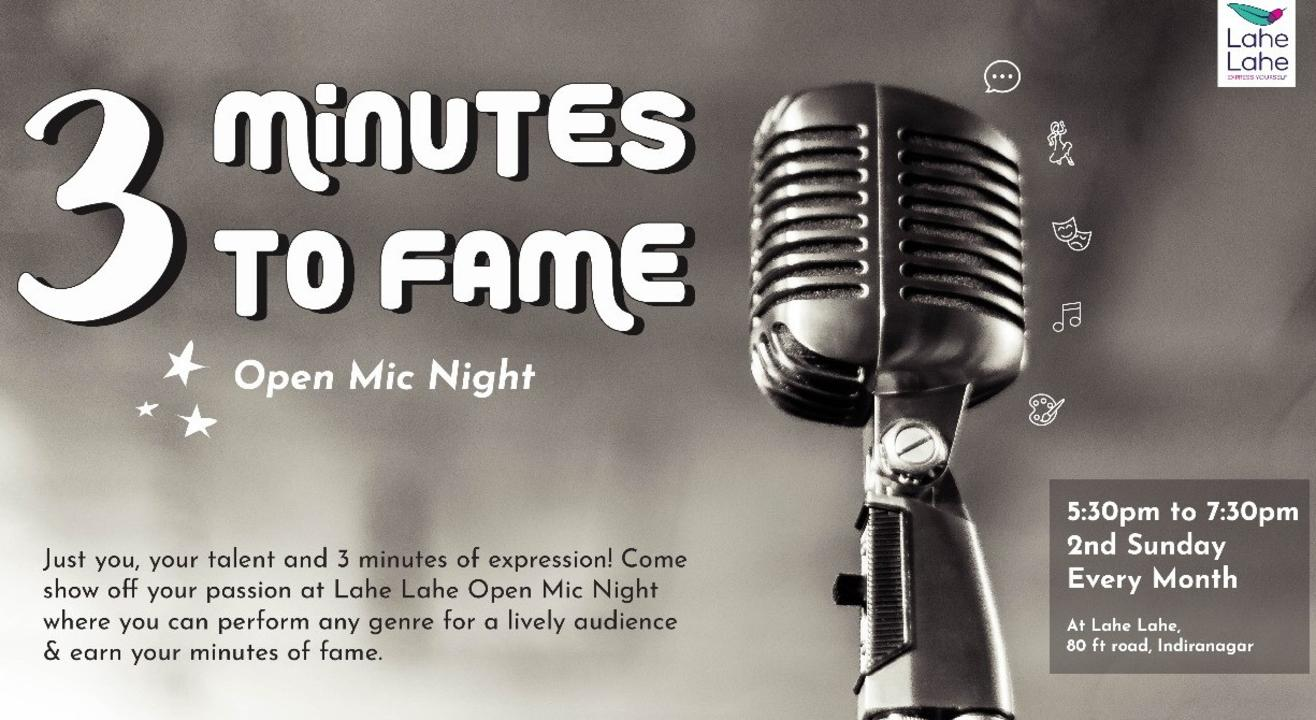 3 Minutes to Fame (Online Open Mic)