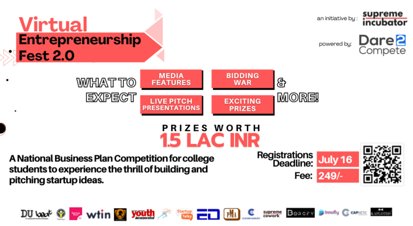 Virtual Entrepreneurship Fest 2.0 | A National Business Plan Competition for College Students | Supreme Incubator Private Limited