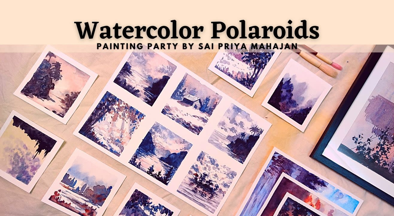Watercolor Polaroids Painting Party