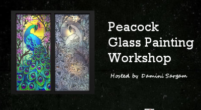 Peacock glass painting workshop with Damini Sargam