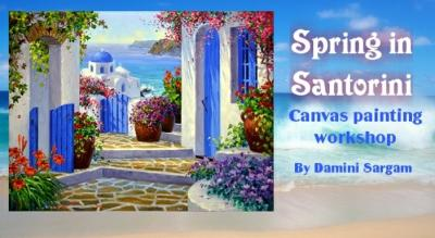 Spring in Santorini canvas painting workshop with Damini Sargam