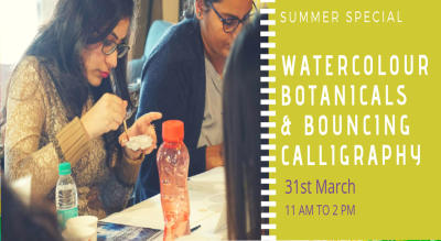 2 IN 1 Watercolour Botanical & Bouncing Calligraphy Workshop.