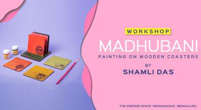 Madhubani Painting on Wooden Coasters