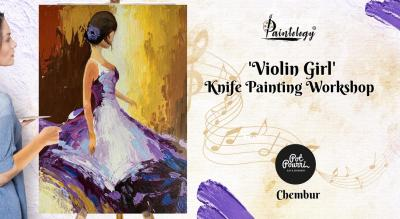 Knife painting party 'Violet Girl'- Chembur